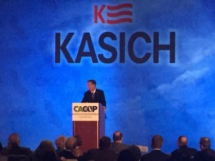 John Kasich speaks in BURLINGAME, California April 29.