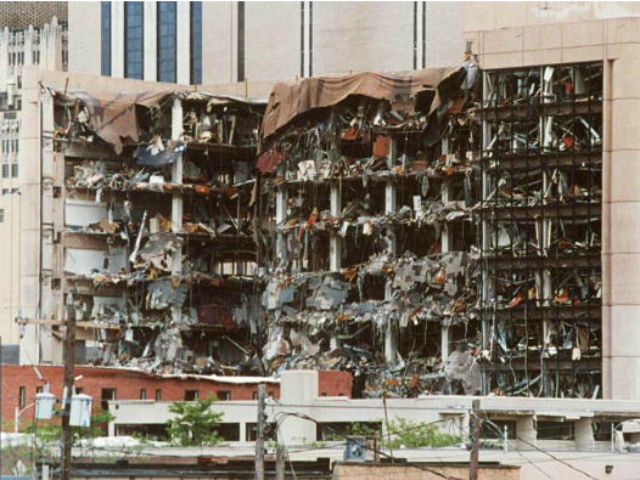 This undated file photo shows the north side of the Alfred P. Murrah Federal Building in Oklahoma City, OK and the damage caused by a car bomb explosion 19 April 1995