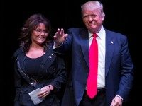 Former Gov. Sarah Palin and Republican presidential candidate Donald Trump on April 2, 2016 in Racine, Wisconsin.