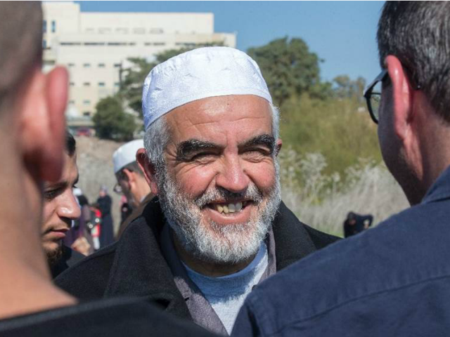 Sheikh Raed Salah (C), pictured on February 12, 2016, leads the radical northern wing of the Islamic Movement in Israel, which authorities outlawed last year