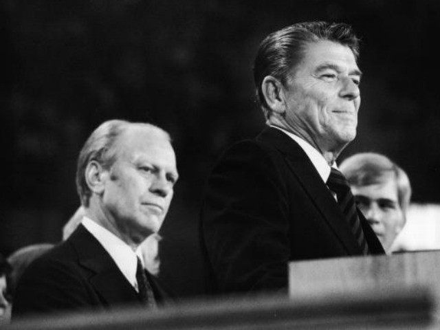 American president Gerald Ford (left) listens as future American president Ronald Reagan (1911 - 2004) delivers a speech during the closing session of the Republican National Convention, Kansas City, Missouri, August 19, 1976.