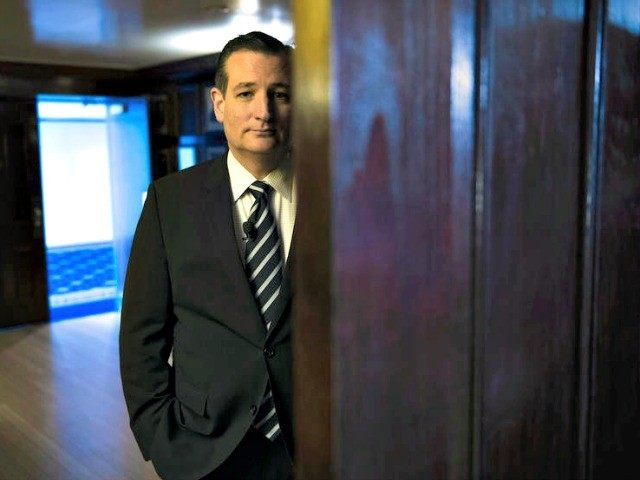 Republican presidential candidate Sen. Ted Cruz, R-Texas waits to be announced to speak at the Hispanic Chamber of Commerce (USHCC) meeting, Wednesday, April 29, 2015, at the National Press Club in Washington. (AP Photo/Cliff Owen)