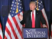 Republican presidential candidate Donald Trump delivers a speech about his vision for foreign policy at the Mayflower Hotel April 27, 2016 in Washington, DC. A real estate billionaire and reality television star, Trump beat his GOP challengers by double digits in Tuesday's presidential primaries in Pennsylvania, Maryland, Deleware, Rhode Island …