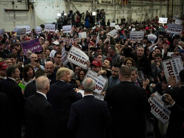 Republican Presidential Candidate Donald Trump interacts with supporters following a campaign rally on April 6, 2016 in Bethpage, New York.
