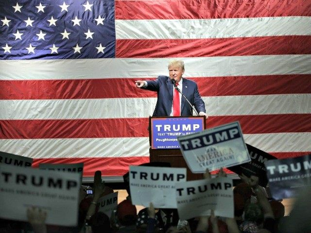 Republican presidential candidate Donald Trump speaks at a campaign event Sunday, April 17, 2016, in Poughkeepsie, N.Y. (AP Photo/Frank Franklin II)