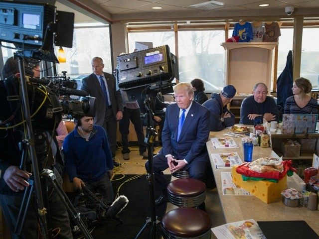 Republican presidential candidate Donald Trump is interviewed by Fox News at a George Webb diner on April 5, 2016 in Wauwatosa, Wisconsin.