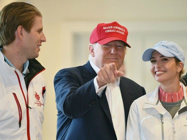 Republican Presidential Candidate Donald Trump visits his Scottish golf course Turnberry with his children Ivanka Trump and Eric Trump on July 30, 2015 in Ayr, Scotland.