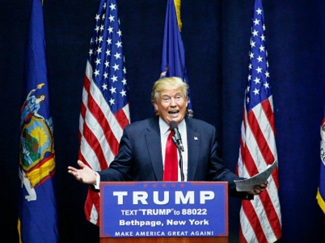 Republican presidential candidate Donald Trump addresses a rally in Bethpage, Long Island, New York on April 6, 2016.