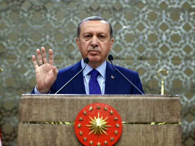 Turkey, Ankara : ANKARA, TURKEY - APRIL 6: Turkish President Recep Tayyip Erdogan gestures as he addresses neighborhood leaders (mukhtars) during the mukhtars meeting at the Presidential Complex in Ankara, Turkey, on April 6, 2016. Turkish Presidency/Yasin Bulbul / Anadolu Agency