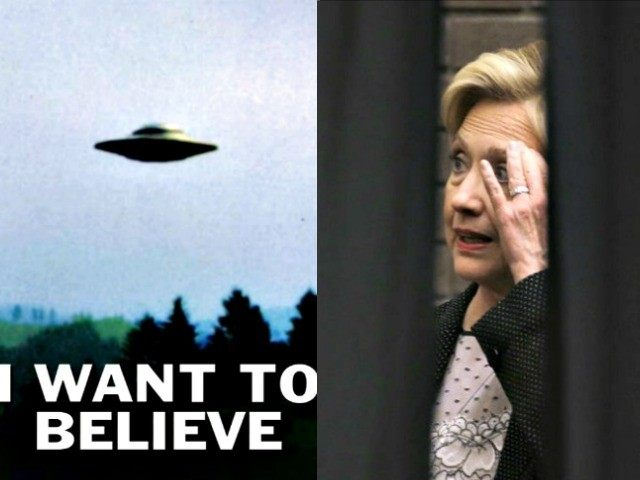 X Files Poster and Hillary Behind Curtain AP