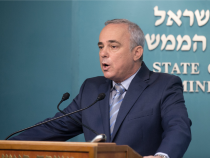Yuval Steinitz, the Israeli Minister of National Infrastructures, Energy and Water Resources, talks to the press at the prime minister's office in Jerusalem on August 13, 2015, announcing a major agreement between Israels government and a consortium including US firm Noble Energy on natural gas production in the Mediterranean Sea.