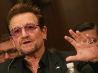 Bono, lead singer of the rock band U2 and co-founder of ONE, a non-profit, non-partisan advocacy organization, testifies during a Senate Appropriations Subcommittee hearing on Capitol Hill, April 12, 2016 in Washington, DC. T