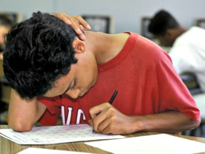 boy taking test AP
