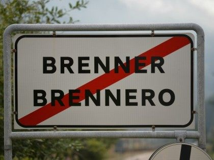 A sign indicates the Brennero city border at the Brenner Pass on September 3, 2015 in Brennero, Italy.
