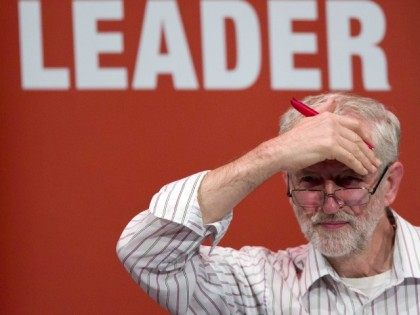 British Labour Party leadership candidate Jeremy Corbyn addresses a rally in Chelmsford, east of London, on September 2, 2015.