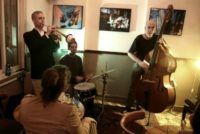"© AFP / by Jonah Mandel | The ""Olden You Quartet"" plays at the Beit Haamudim bar and jazz club during a concert in Tel Aviv"