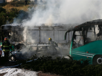 Firemen extinguish a burning bus following an attack in Jerusalem on April 18, 2016. Police only said there was 'an attack' without providing further details.