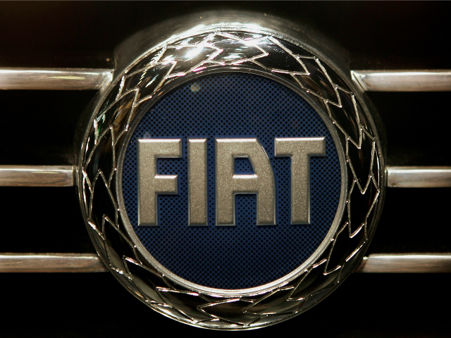 The Fiat badge is seen at the 75th International Geneva Motor Show press preview on March 1, 2005 in Geneva, Switzerland.