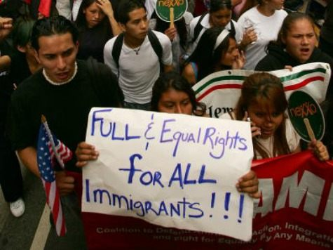 Thousands of demonstrators begin their downtown march to City Hall in one of several May Day marches and rallies in southern California and in at least 75 cities nationwide to press for immigrant and labor rights on May 1, 2007 in Los Angeles, California.