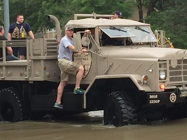 Harris County Precinct 4 Justice of the Peace Lincoln Goodwin out with Precinct 4 Constables in flooded Northwest Houston.