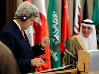 US Secretary of State, John Kerry (L) speaks near Saudi Arabia's Foreign Minister Adel al-Jubeir during a joint press conference after the ministerial meetings of the Gulf Cooperation Council (GCC) leaders on April 7, 2016 in the Bahraini capital Manama.