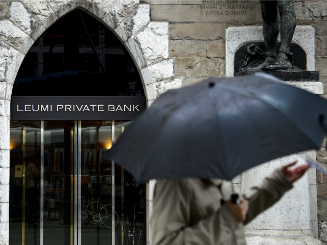 A sign of Leumi Private Bank is seen on June 14, 2013 in the financial district of Geneva.