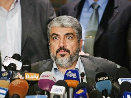 Hamas Leader Khaled Meshaal looks on as he gives a press conference at the Journalist Syndicate building on November 19, 2012 in Cairo. Meshaal said his movement is committed to efforts to secure a truce with Israel, but insisted the Jewish state must lift its six-year blockade of the Gaza …