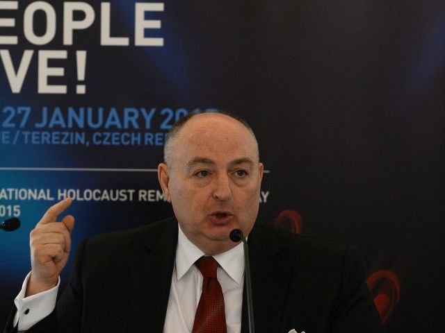 Moshe Kantor, head of the European Jewish Congress (EJC), answers to journalists during his press conference at the Fourth International Forum ''Let My People Live'' on January 26, 2015 in Prague.