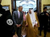 President Barack Obama and Saudi Arabia's King Salman walk together to a meeting at Erga Palace in Riyadh, Saudi Arabia, Wednesday, April 20, 2016. The president began a six day trip to strategize with his counterparts in Saudi Arabia, England and Germany on a broad range of issues with efforts to rein in the Islamic State group being the common denominator in all three stops. (AP Photo/Carolyn Kaster)