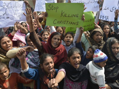 Pakistani Christians shout slogans during a protest in Lahore on March 16, 2015 against suicide bombing attacks on churches by Taliban militants.