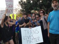 FILE- In this March 24, 2016, file photo, people protest outside the North Carolina Executive Mansion in Raleigh, N.C. A South Carolina proposal to forbid transgender people from using restrooms that correspond to their gender identity is part of a backlash by lawmakers across the historically conservative South. North Carolina …