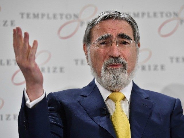 Religious leader and philosopher Rabbi Lord Jonathan Sacks, speaks during a press conference in central London on March 2, 2016. Rabbi Sacks was named the winner of the 2016 Templeton Prize.