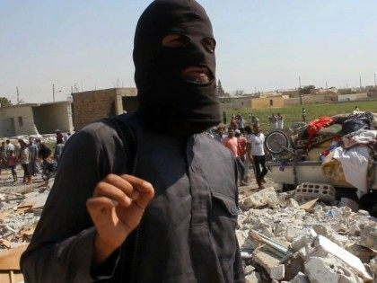 An image grab taken from an AFPTV video on September 16, 2014 shows a jihadist from the Islamic State (IS) group standing on the rubble of houses after a Syrian warplane was reportedly shot down by IS militants over the Syrian town of Raqa.
