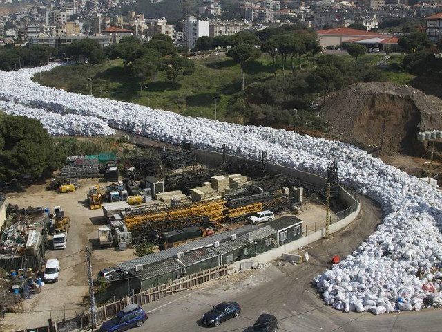 River of uncollected garbage bags in Beirut Waste crisis, Beirut, Lebanon - 28 Feb 2016 (Rex Features via AP Images)