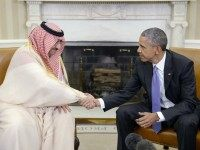 U.S President Barack Obama Shakes hands with Crown Prince Mohammed bin Nayef of Saudi Arabia during a bilateral meeting in the Oval Office at the White House May 13, 2015 in Washington, DC.