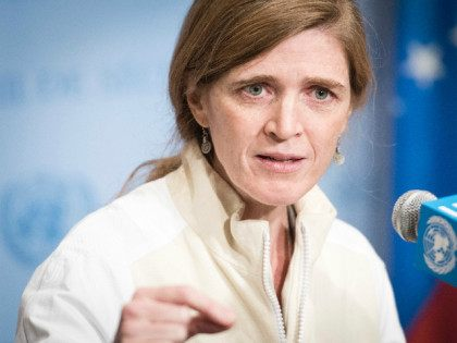 UNITED STATES, UNITED NATIONS : Samantha Power, United States Permanent Representative to the UN, speaks to journalists following Security Council consultations on the recent ballistic missile launch by Iran. The UN Security Council held a closed-door meeting on the missile launches at the request of the United States, which along …