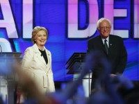 Democratic Presidential candidates Hillary Clinton and Sen. Bernie Sanders (D-VT) stand on stage during the CNN Democratic Presidential Primary Debate in Brooklyn, April 14.AFP read more: http://www.haaretz.com/world-news/u-s-election-2016/1.714593