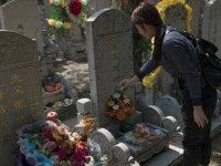 """CHINA, BEIJING : TOPSHOT - A woman pours alcohol over a grave during the """"Qingming"""" festival, or Tomb Sweeping Day, at a cemetary in Babaoshan in Beijing on April 4, 2016. During Qingming, Chinese traditionally tend the graves of their departed loved ones and often burn paper offerings to honour …"""