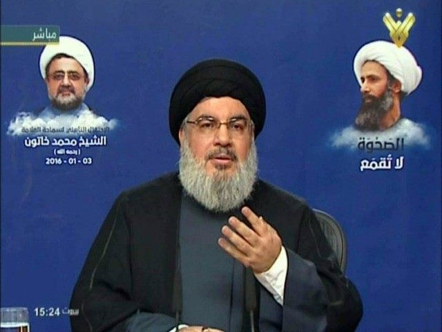 An image grab taken from Hezbollah's Al-Manar TV on January 3, 2016, shows Hassan Nasrallah, the head of the militant Shiite movement, giving an address from an undisclosed location in Lebanon