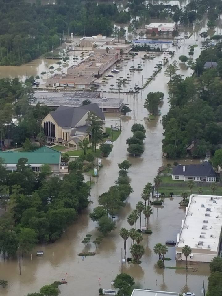 Aerial photo of flood damage along Cypresswood near Stuebner Airline in northwest Houston. (Photo: Cypress Creek Cultural District)