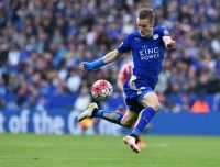 Leicester City's English striker Jamie Vardy controls the ball during the English Premier League football match against Southampton in Leicester, central England on April 3, 2016
