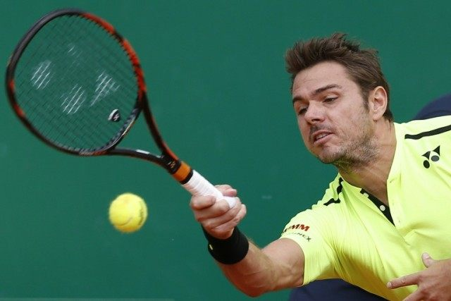 Switzerland's Stan Wawrinka in action against Germany's Philipp Kohlschreiber at the Monte Carlo Masters on April 13, 2016