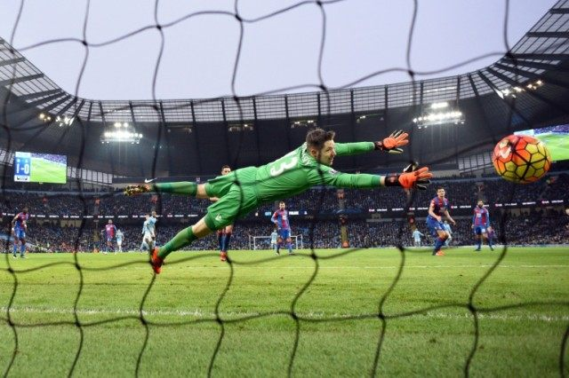 Crystal Palace's goalkeeper Wayne Hennessey, in action on January 16, 2016