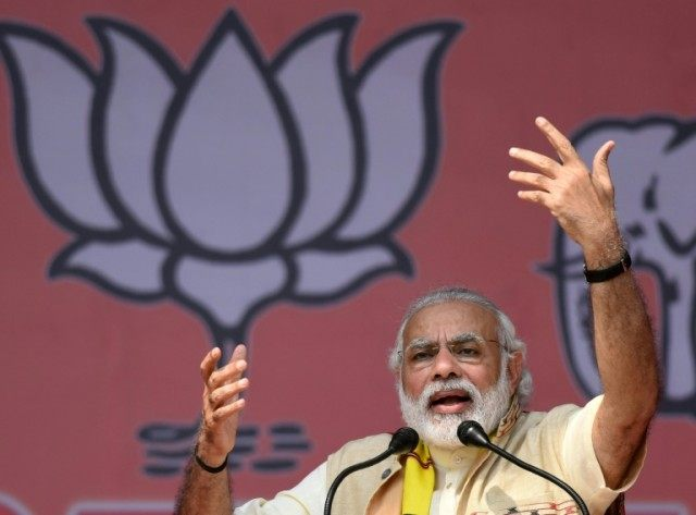 India's Prime Minister Narendra Modi, whose home state is Gujarat, pictured on March 26 addressing an election rally