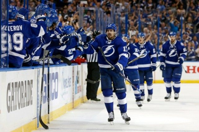 Alex Killorn of the Tampa Bay Lightning celebrates his goal against the Detroit Red Wings during Game Five of the Eastern Conference First Round