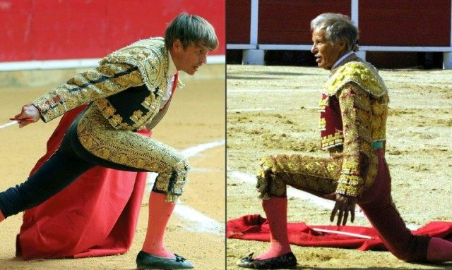 "Spanish matador Manuel Diaz "" El Cordobes"" (L) during a bullfight in Zaragoza, and Spanish matador Manuel Benitez ""El Cordobes"" (R) during a bullfight in France"