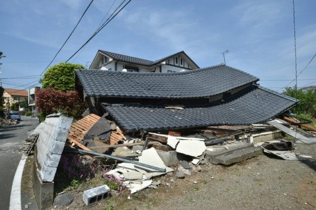 A damaged house in the town of Mashiki, Kumamoto prefecture on April 15, 2016