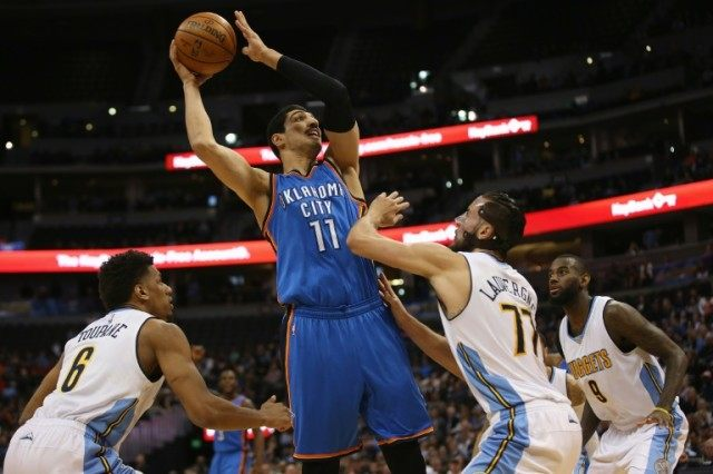 Oklahoma City Thunder's Enes Kanter takes a shot during the game against the Denver Nuggets at Pepsi Center on April 5, 2016