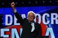 US Democratic presidential candidate Bernie Sanders on stage for the CNN Democratic Presidential Debate on April 14, 2016 in New York