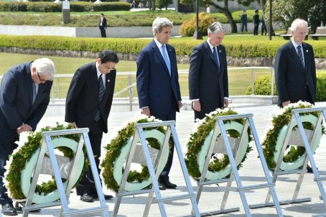 G7 foreign ministers lay wreaths at the Memorial Cenotaph for the 1945 atomic bombing victims in the Peace Memorial Park in Hiroshima on April 11, 2016